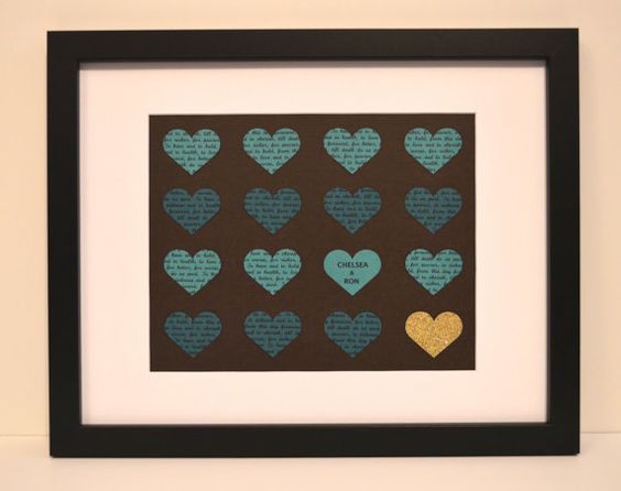Customized First Anniversary Gift- 11x14 FRAME INCLUDED, Wedding Vow Keepsake, Teal and Brown, Gift for Bride, Framed Wall Art, Unique Gift