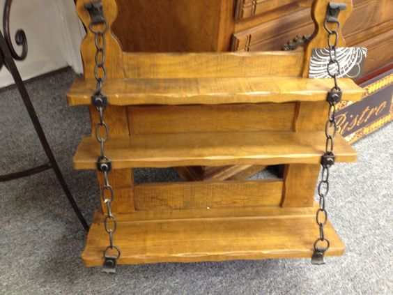 Handcrafted Wood Shelf with Chain