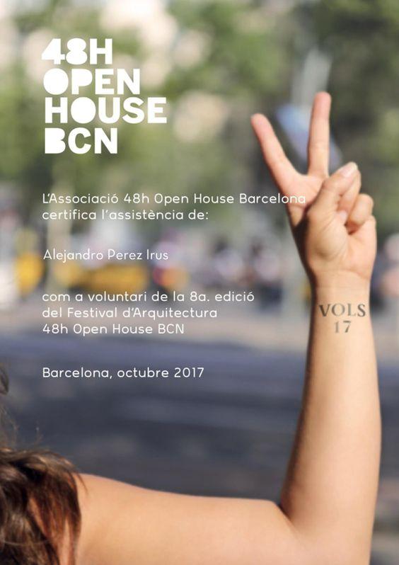 2017 Certificado de Participacion por ser Voluntario Alejandro Pérez Irús AlejandroPI en Exposición de Arquitectura y Edificios en 48H Open House en Barcelona