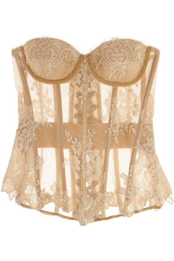 Rosamosario Nudita Ricca Chantilly lace-trimmed tulle corset