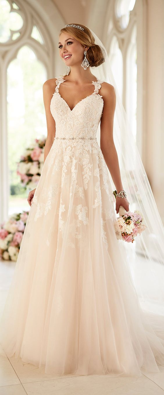 Stella York lace wedding dress with straps: