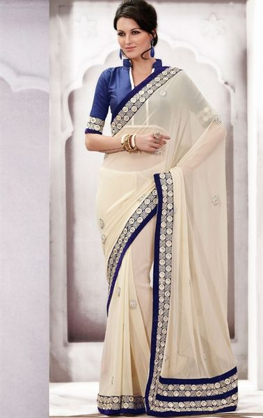 Picture of Pretty Looking Cream Color Traditional Saree