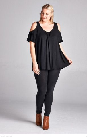 Black Cold Shoulder Top - Sizes XL - 3XL - $27.00