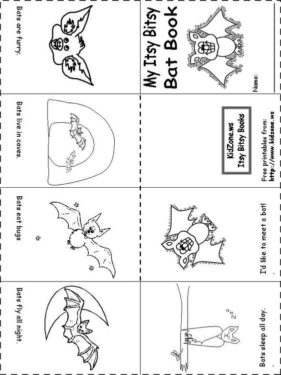 Bat Activity Sheets -Itsy Bitsy Bat Book: