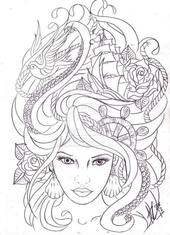 Maritime Hair Tattoo Sketch By Nevermore Ink On Deviantart Malvorlagen Ausmalbilder Ausmalen