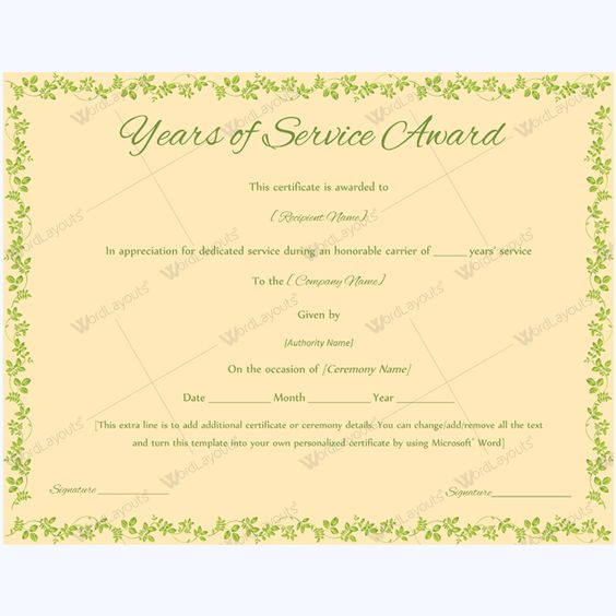 Editable Years Of Service Award Certificate #award ...
