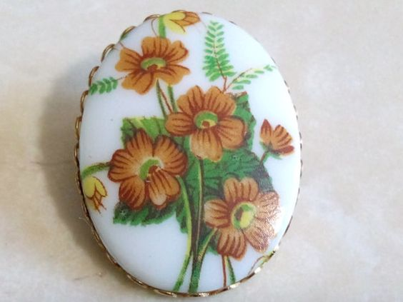 PORCELAIN FLOWER BROOCH-Gorgeous Hand Painted by TheAntiqueTrader