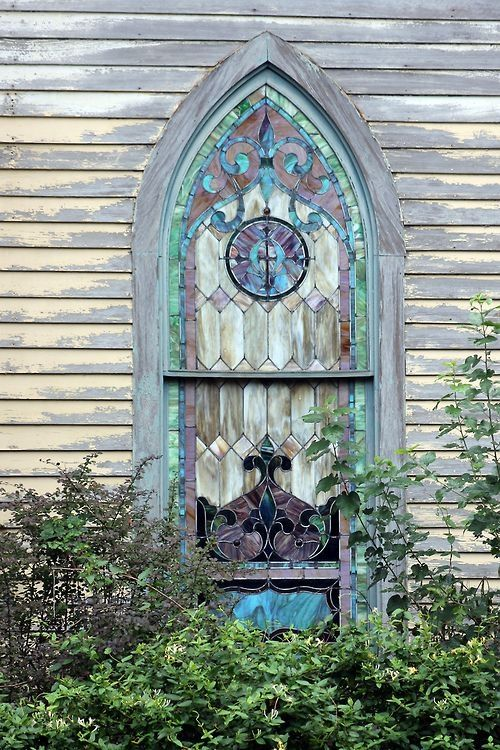 old country church leadlight window by diann