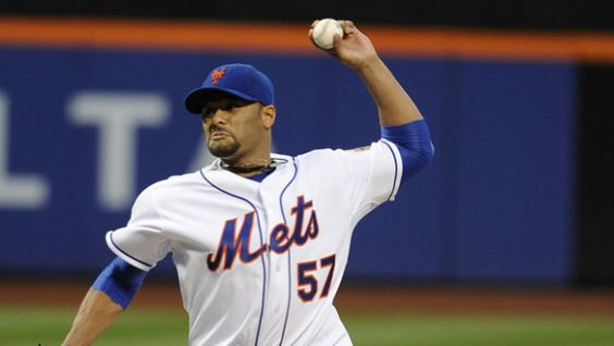 Santana pitches first no-hitter in Mets' history - CBS News  New York Mets starting pitcher Johan Santana (57) throws against the St. Louis Cardinals in the second inning of a baseball game on Friday, June 1, 2012, at Citi Field in New York. (AP Photo/Kathy Kmonicek)