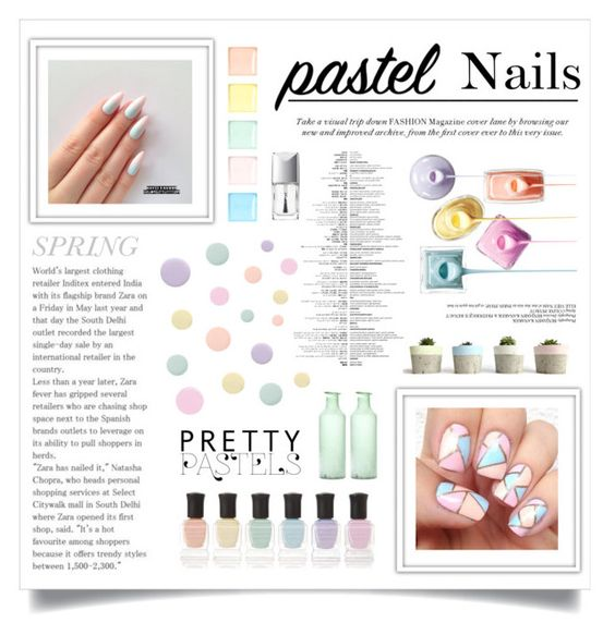 """Spring Mani: Pastel colors"" by maddiemclean ❤ liked on Polyvore featuring beauty, Deborah Lippmann, Rimmel, Christian Dior, pinkandgreen and manicure"