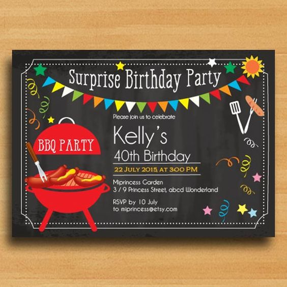 BBQ Birthday Invitation Chalkboard Backyard surprise par miprincess