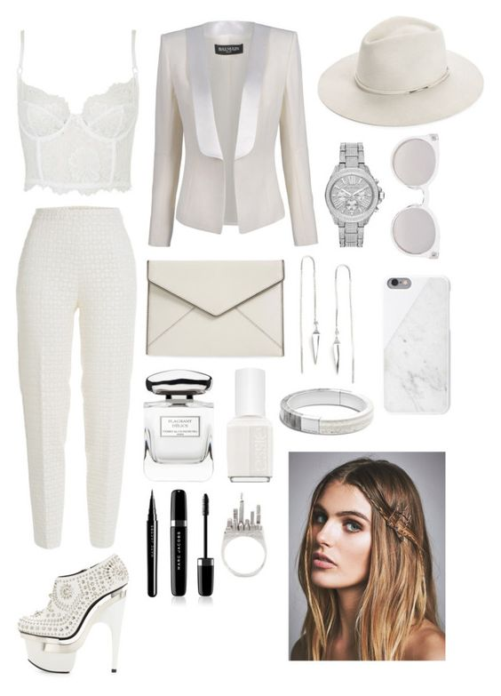 """Untitled #31"" by merili-kirsipuu ❤ liked on Polyvore featuring Giambattista Valli, Topshop, Michael Kors, Versace, Balmain, Anello, Nicole Miller, rag & bone, Rebecca Minkoff and By Terry"