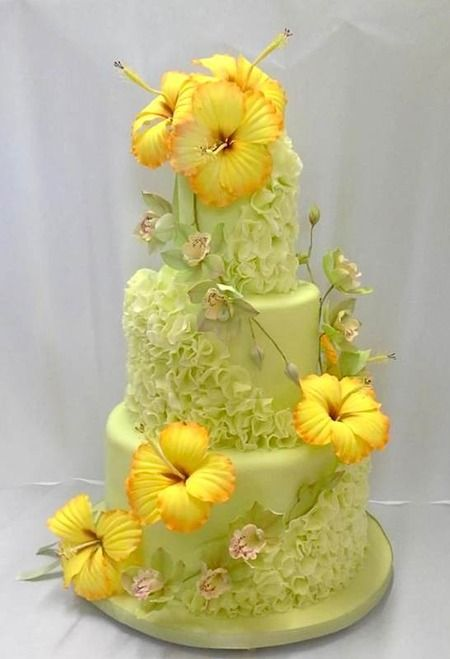 Take an unexpected color combo, throw in some soft petal ruffles, top it off with STUNNING hibiscus flowers, and you get magic:  Cake by Micialuna