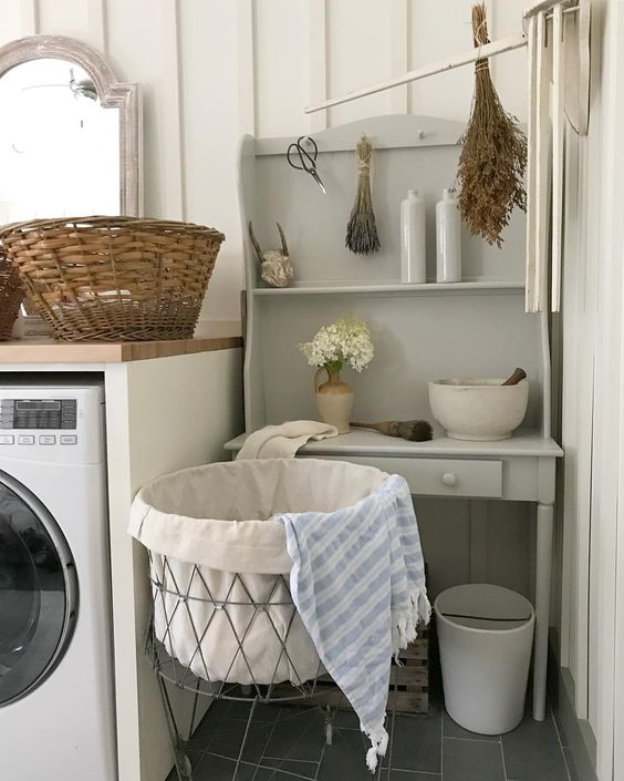 What I love - A desk or little table would be handy in the laundry room.