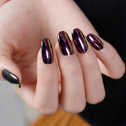 Details about purple color effect mirror chrome nail for Vernis a ongle effet miroir