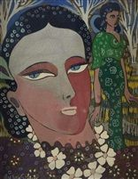 Femmes aux fleurs by Aly Ben Salem - Artist: Aly Ben Salem (Tunisian, 1910–2001) Title: Femmes aux fleurs Medium: gouache Size: 27 x 22 cm. (10.6 x 8.7 in.)