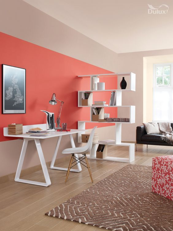 Coral room: Zoning homes with an open plan layout is one of the best ways of making the most of your space. Oranges, particularly corals, inspire creativity so are ideal for a living and study area.  Featuring Coral Flair and Malt Chocolate by Dulux.