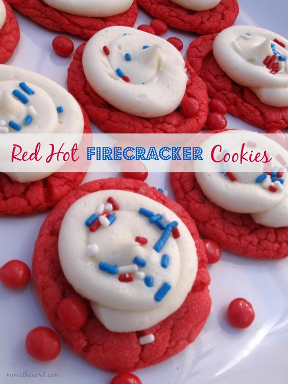 These adorable cookies have the flavor of a red hot candy, taste amazing and are make with a cake mix! The perfect cookie for the 4th of July!:
