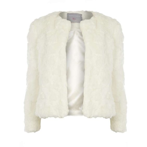 Dorothy Perkins Petite Ivory Short Fur Jacket ($76) ❤ liked on Polyvore featuring outerwear, jackets, petite, white, petite jackets, fur jacket, ivory jacket, short jacket and white winter jacket