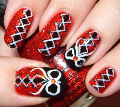 Black & Red Corset Nail Art