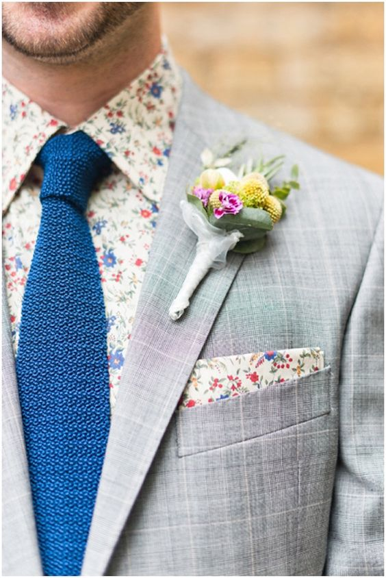 Cool and colourful tie, floral shirt and pocket square combo | Bridal Musings Wedding Blog: