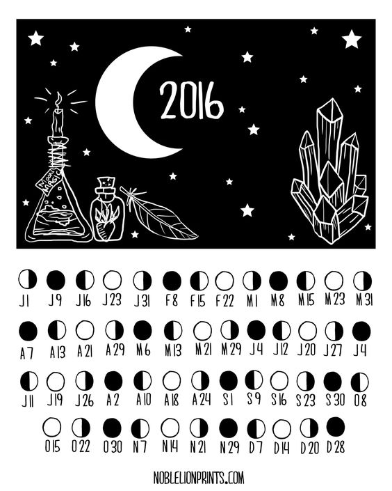 Moon Phases 2016 — Noble Lion Prints: