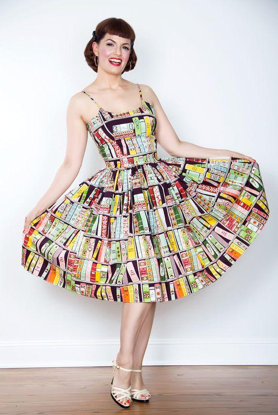 1950s Style Chelsea Book Print Dress - Unique Vintage - Prom ...