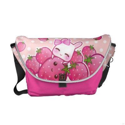 Cute bunny with kawaii strawberries messenger bag ... so freakin ...