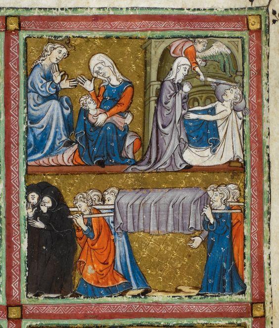 Scene from Exodus=Haggadah for Passover (the 'Golden Haggadah'') OriginSpain, N. E., Catalonia (Barcelona?) Date2nd quarter of the 14th century LanguageHebrew ScriptSephardi square script, punctuated