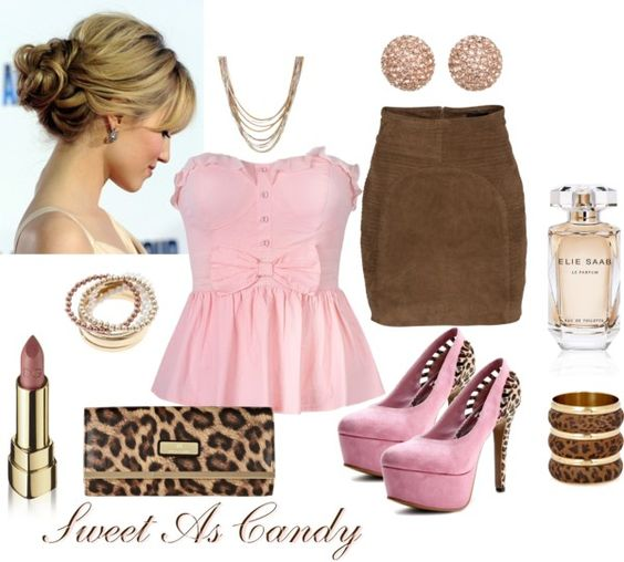 """Brown and Pink..."" by sweetlikecandycane ❤ liked on Polyvore"