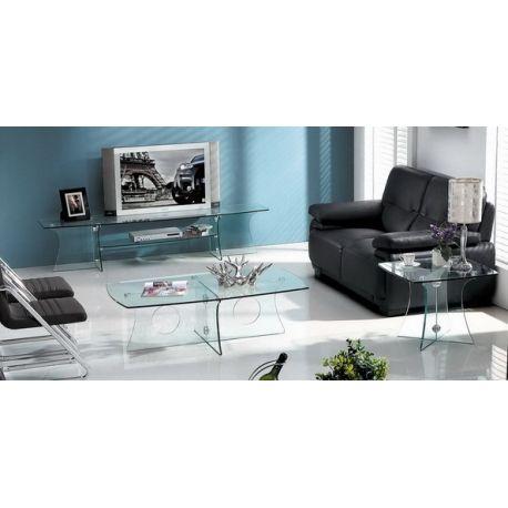 Mesa baja rectangular de diseño, fabricada integramente de cristal templado de 12 mm. de espesor acabado transparente.