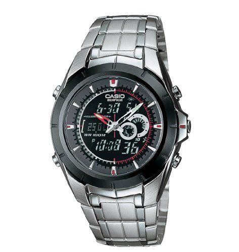 3. Casio Men's EFA119BK-1AV Ana-Digi Edifice Thermometer Bracelet Watch