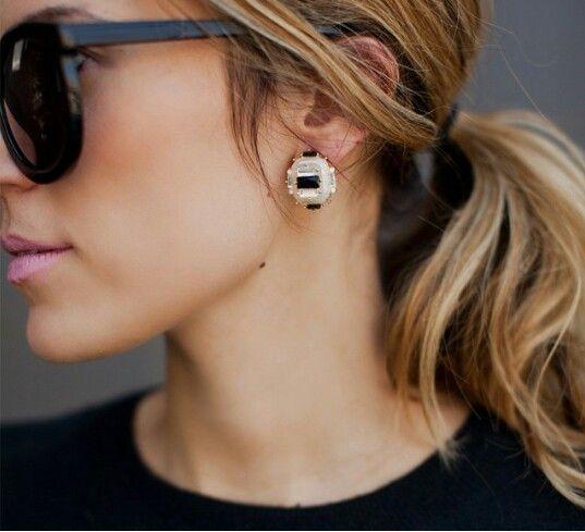 Black & white earring studs