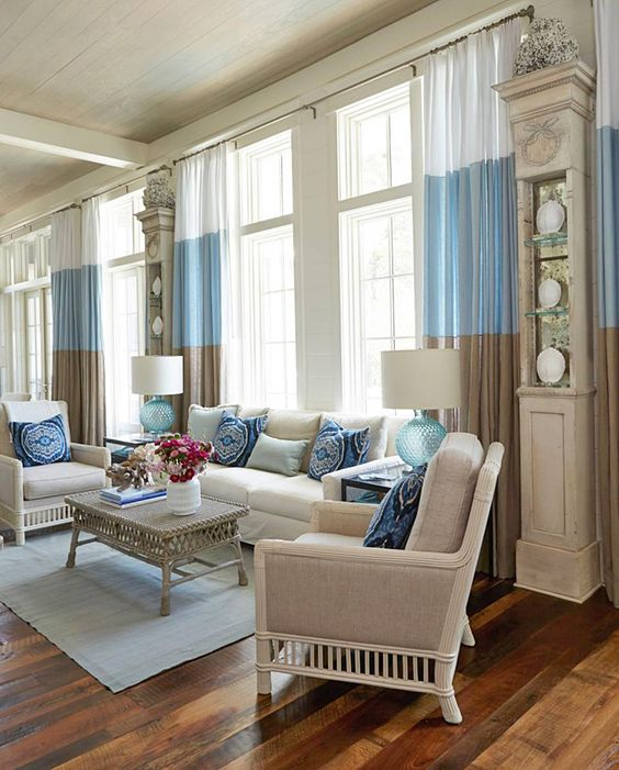 Beachy living room georgia carlee lovely living rooms - Turquoise curtains for living room ...