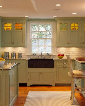 Traditional home sage green kitchen cabinets design ideas for Sage green kitchen ideas