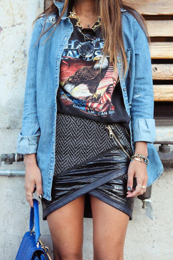 Falda cruzada hecha de diferentes tejidos. #trends #tendencias