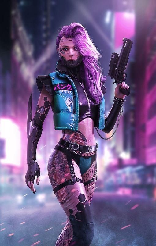 Wallpaper Iphone Android Background Followme Cyberpunk Girl
