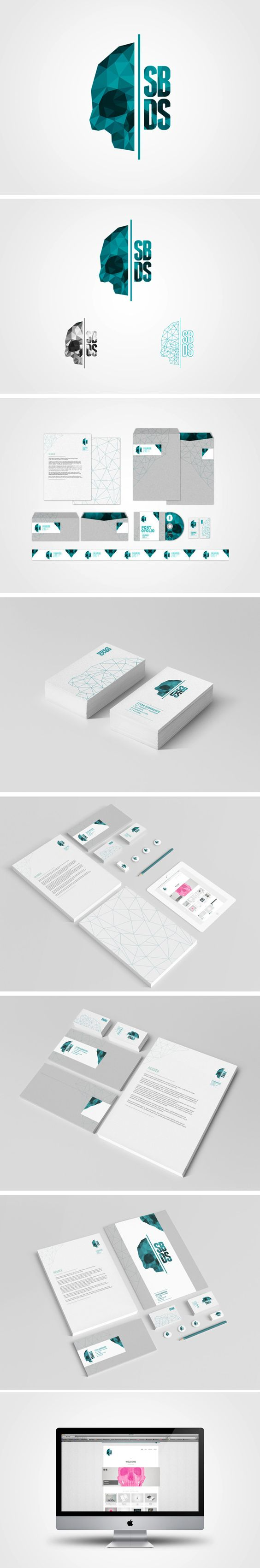 "SBDS's ""Self-Branding"" from Stian Bjørhovde Design Studio, via Behance. I love that despite using polygon design trends, it's still unique branding."