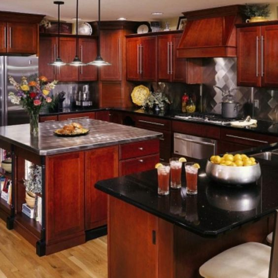 Black granite dark and cherries on pinterest for Cherry kitchen cabinets with black granite