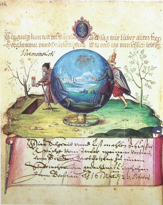 going through the world, from Jacob Petske's album now in Wroclaw UL, this painting dated Wroclaw, 1618 -- scanned from Oszczanowski & Gromadski (Wroclaw 1995) -- verse transcribed and translated in Comments below. An identical miniature by same artist is in the Heintze album in the Hamburg Museum fur Kunst und Gewerbe