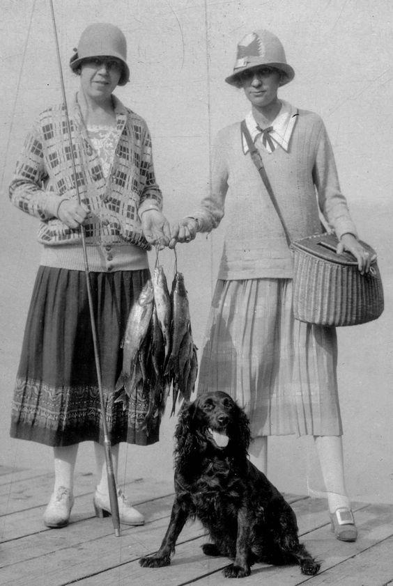 women fishing wearing skirts
