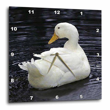 3dRose White Pekin Duck, Wall Clock, 10 by 10-inch