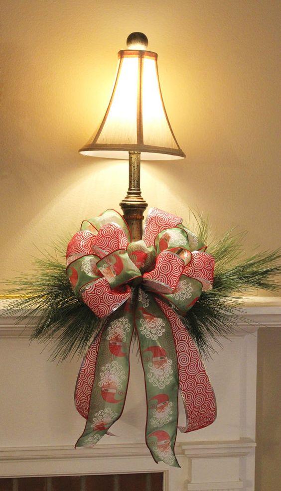 Double Ribbon Christmas Bow for Wreath / Decor Santa
