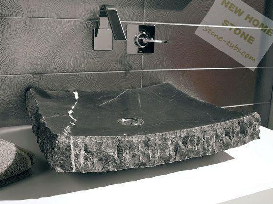 black marble bathroom sink rectangular shape one piece marble cut ...