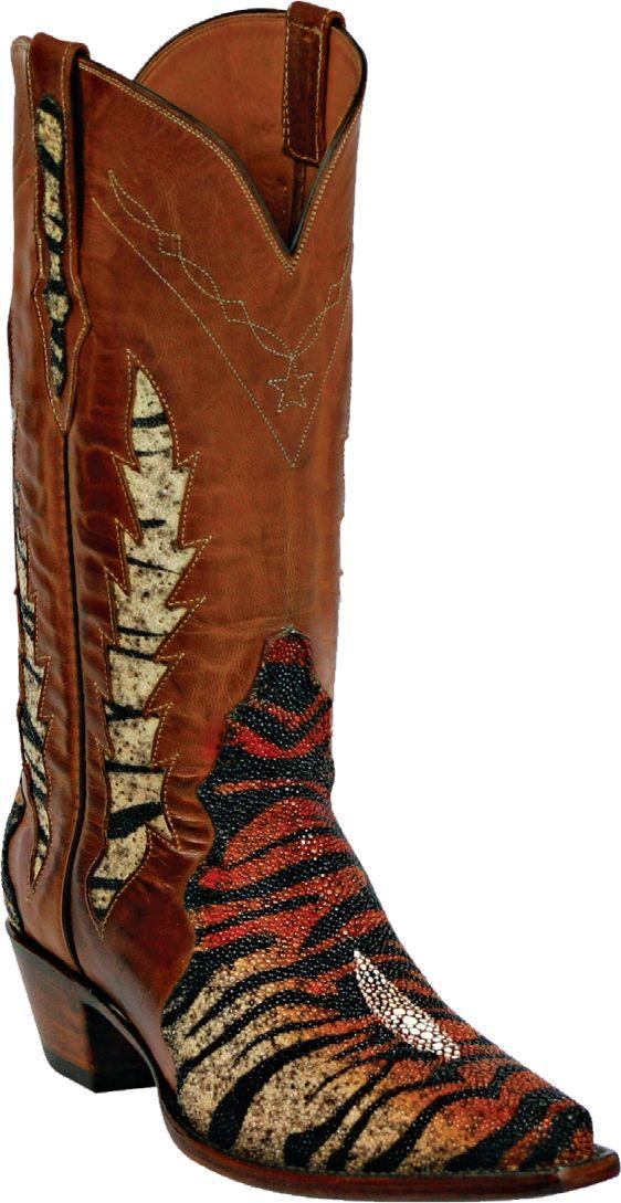 Womens Black Jack Boots Rust Tiger Stingray Triad Custom