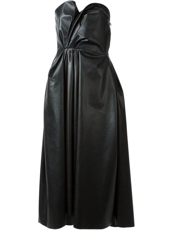 Lanvin Gathered Faux Leather Corseted Dress Dress - Bernard - Farfetch.com