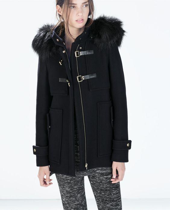 zara femme trench en drap de laine capuche bord e de fourrure synth tique 159 shopping. Black Bedroom Furniture Sets. Home Design Ideas