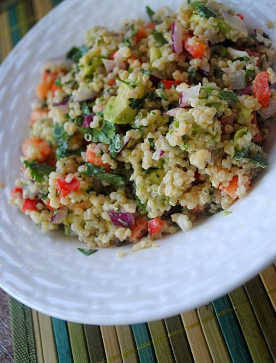 Quinoa and Avocado Salad with Lemon Tahini Dressing