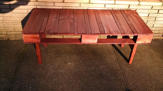My first coffee table build sedona red 222 stain and
