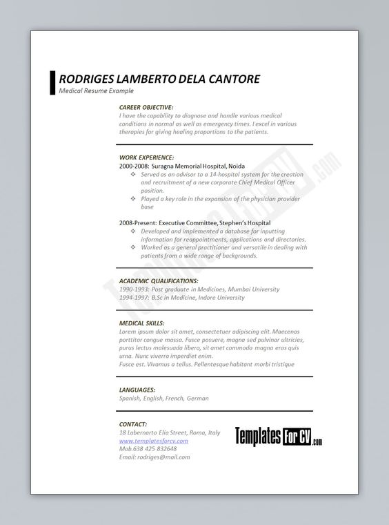 Physician Resume Examples Free Cv Template Curriculum Vitae Template And Cv Example Lfg3Zxwc .